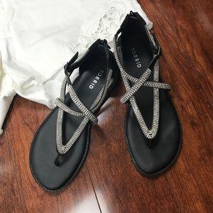 Torrid Black Rhinestone Gladiator Sandals 8 Wide